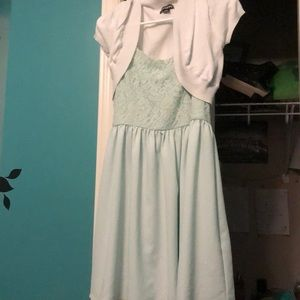 I'm selling my mint green dress and my white shrug